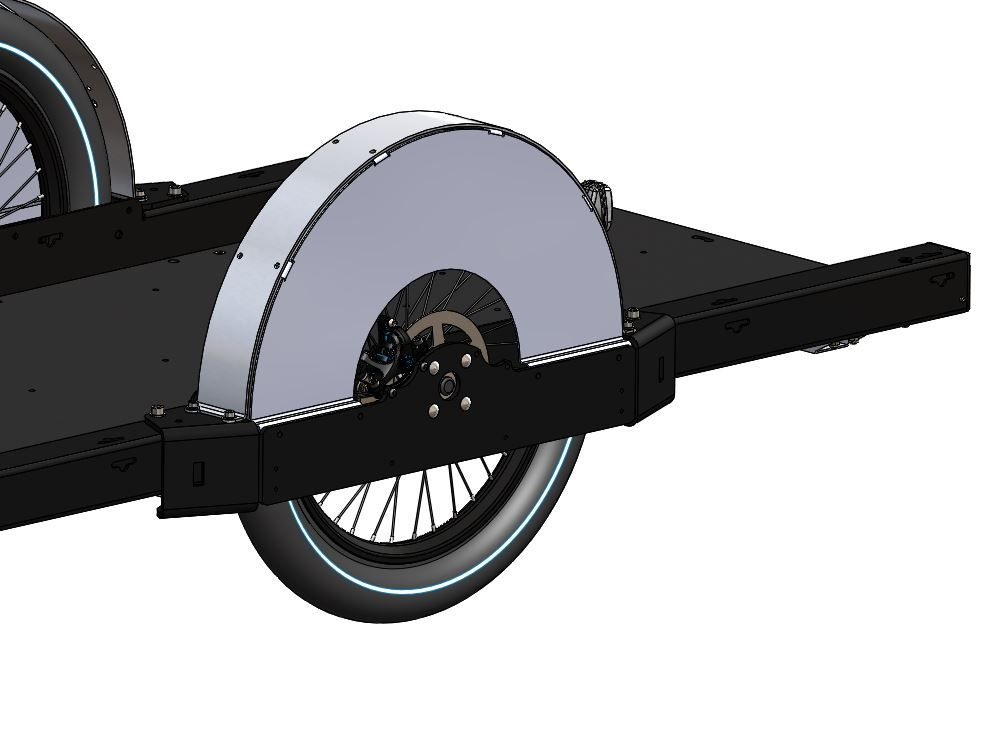 3D model of the Runner bike trailer with a wheel, a wheel cover and the tray
